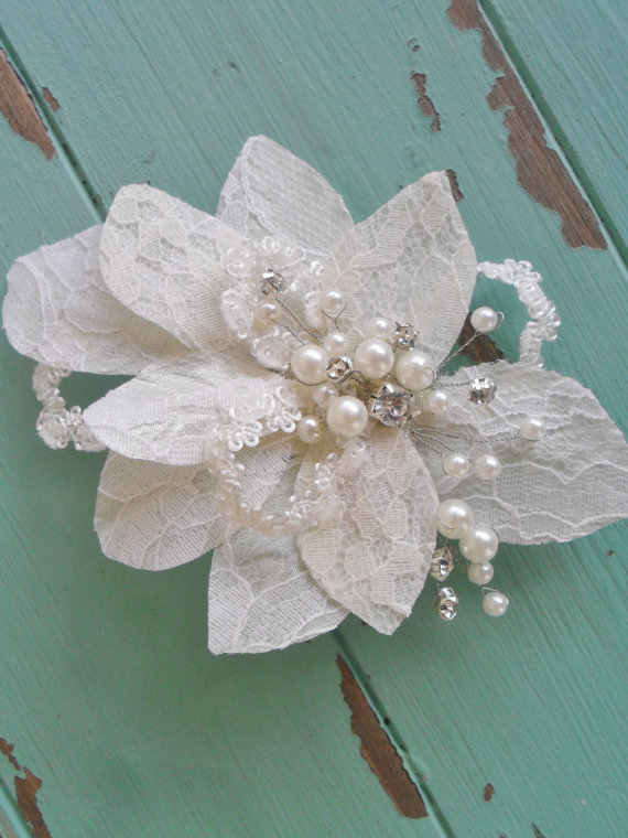Wedding - Wedding Hair Comb,Hair clip, Bridal Hairpiece, Lace Hairpiece,Wedding Hair Accessory,Pearl Headpiece, Lace Hair Comb, MANY COLORS Available,
