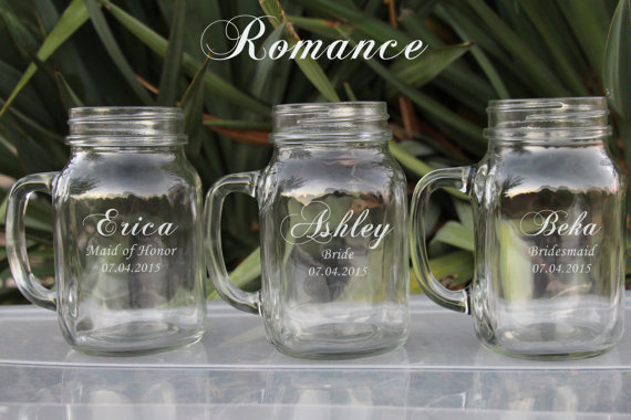 Unique Bridesmaid Gifts Etsy 7 Large 21oz Mason Jars Wedding Gift Ideas Favors Jar