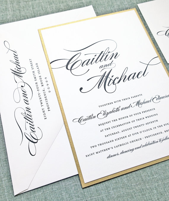 Mariage - Caitlin Script Metallic Gold Layered Wedding Invitation Sample - Custom Elegant Formal Classic Wedding Invitation