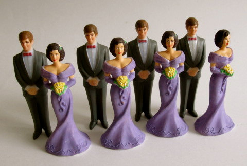 """Wedding - Vintage Bridesmaids and Groomsmen Purple and Gray 4 1/4"""" H Cake Toppers"""