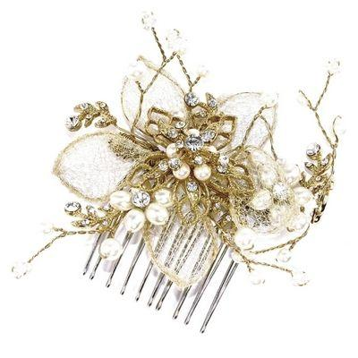 Wedding - Gold Pearl Flower Comb (ic)