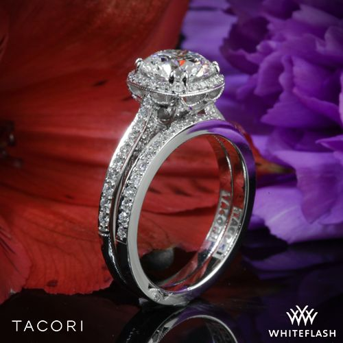 Mariage - 18k White Gold Tacori 2620RD Dantela Crown Diamond Engagement Ring For 0.75ct Center