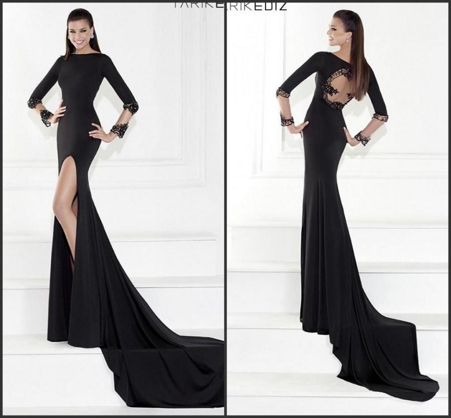 High Split Long Sleeve Black Evening Dresses Applique Hollow Lace