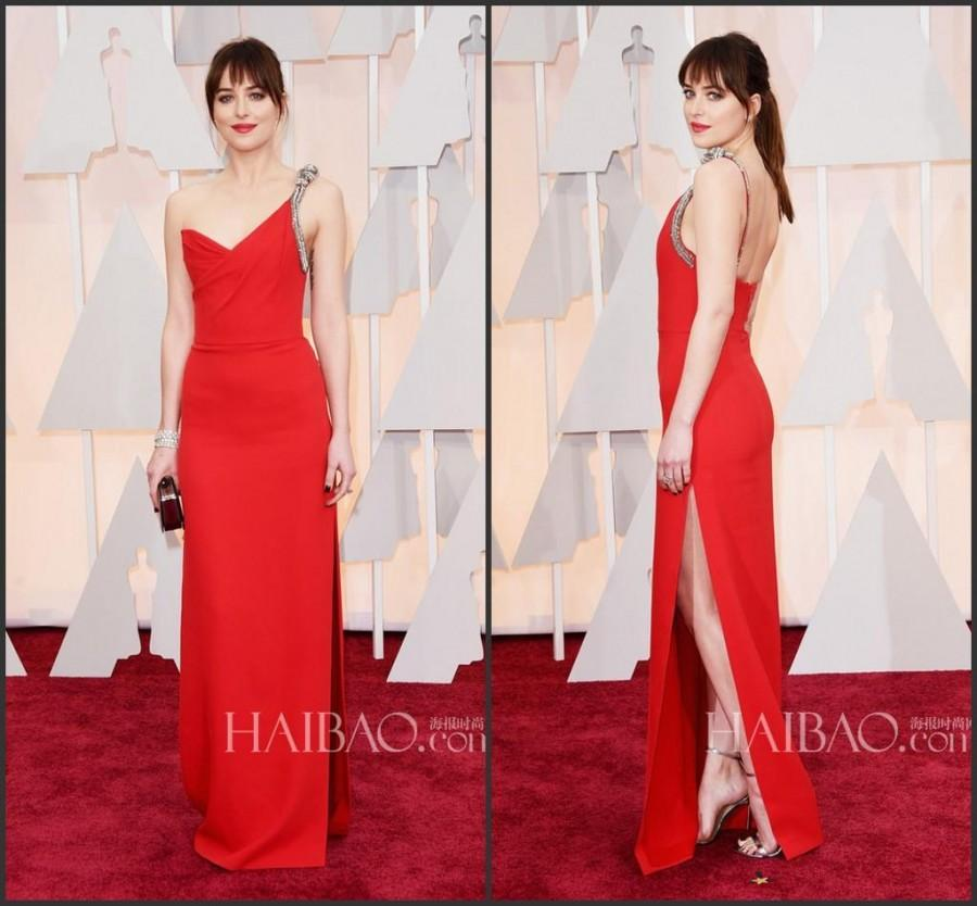 2015 Oscar Red Evening Dresses 87th Dakota Johnson Celebrity Backless Beads  Satin One Shoulder Side Split Party Formal Dresses Red Carpet Online with  ... 08f7c552c4c1