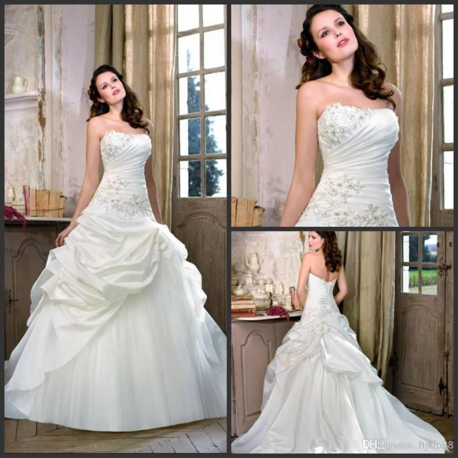 Best Selling 2014 Glamour A Line Lace Up Ruffles Taffeta Ivory Wedding Dresses Beautiful Flare Bridal Gown Divid8318 10985