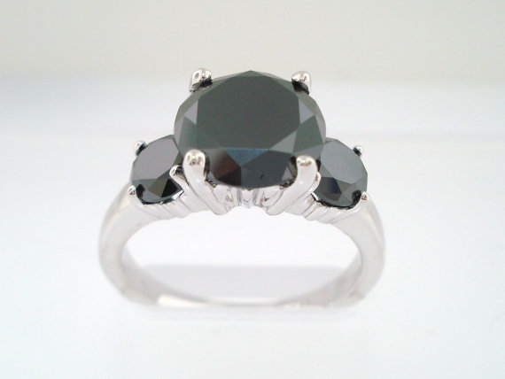 Свадьба - 2.90 Carat Fancy Black Diamond Three-Stone Engagement Ring 14k White Gold Handmade Unique Certified