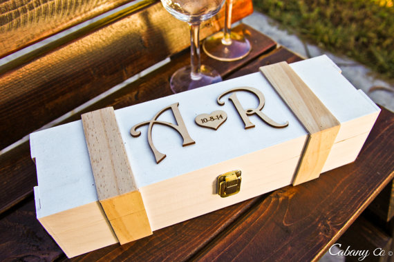 Wedding - Personalized Wine Box Wood Engraved Wedding - Valentines Day, Wine Ceremony, Anniversary, Shabby Chic Wedding, Rustic Wedding Engagement