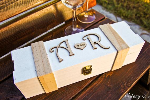 Personalized Wine Box Wood Engraved Wedding Valentines Day Wine