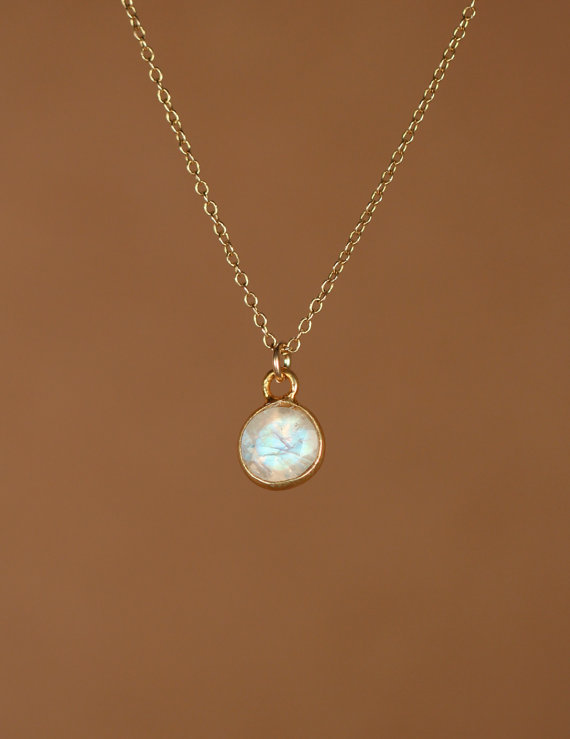 Свадьба - Moonstone necklace - gold moonstone - june birthstone - tiny moonstone - a 22k gold bezel set faceted moonstone on a 14k gold vermeil chain