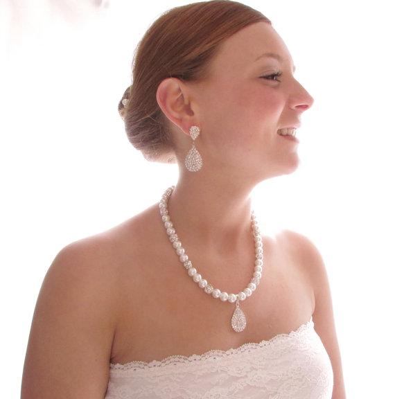 Свадьба - Pearl Bridal Necklace - Rhinestone Bridal - Bridal Necklace -  Crystal Bridal Jewelry - Wedding Jewelry - Rhinestone Crystal - Vintage Style
