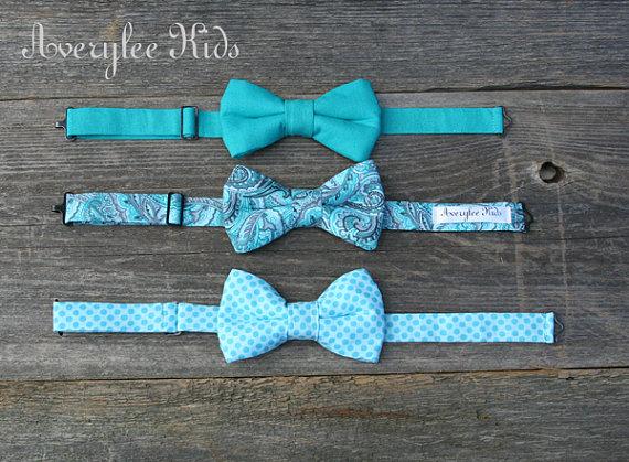 Wedding - Boys Bow Tie, Teal Bow Tie, Aqua Bow Tie, Blue Bow Tie, Toddler Bow Tie, Wedding Ring Bearer, Cake Smash