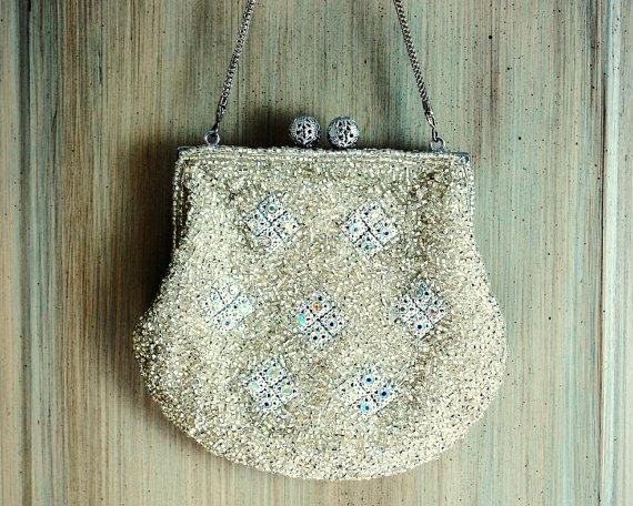 Hochzeit - Beaded Purse, Evening Bag, Beaded Bag, Wedding Accessories, Bridal Clutch, Silver Beaded Purse, Rhinestone , Formal Accessories, Vintage