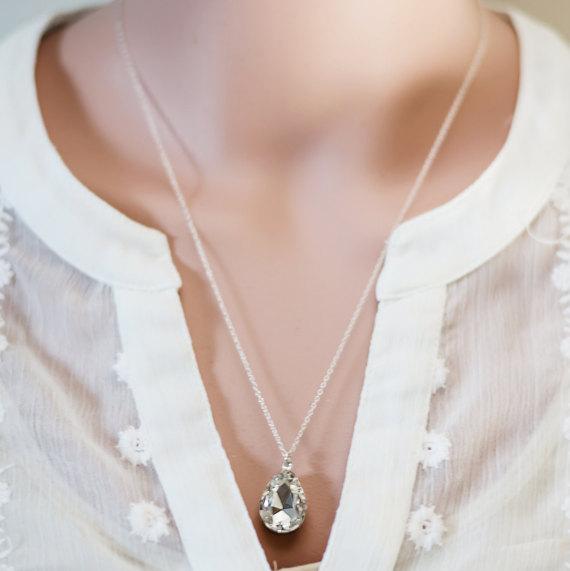 Mariage - Crystal Teardrop Necklace