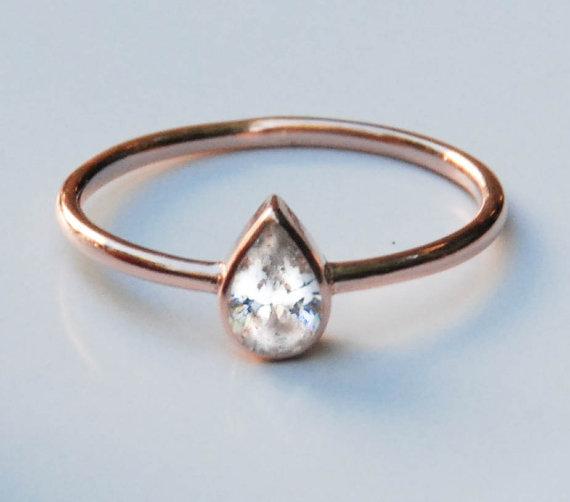 Свадьба - 14k Rose Gold Ring - Tear Drop Ring - Solitaire Ring - Engagement Ring - Rose Gold Engagement Ring - Pear Diamond Ring - Solid Gold ring