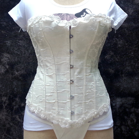 Hochzeit - White Fashion Lady Overbust Party Sexy Women Steel Boning Corset Bustier Lingerie G-string Lace up