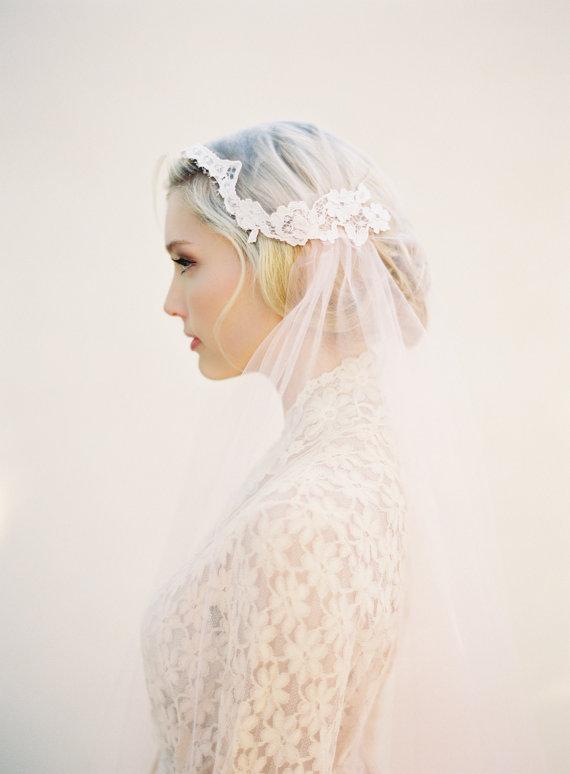 زفاف - Blush Lace Bridal Wedding Veil, Juliet Cap, Pink Bridal Cap Veil, Bridal Illusion Tulle, Style: Sweet as Pie #1512