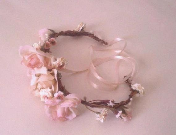 Hochzeit - Engagement portrait hair accessory Blush Flower crown headband photo prop hair wreath wedding accessories flower girl baby maternity halo