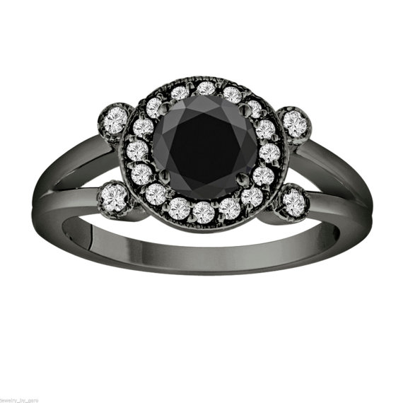 Hochzeit - Fancy Black & White Diamond Engagement Ring Vintage Style 14k Black Gold 1.03 Carat Certified Unique Halo Handmade