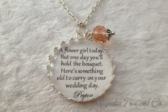 Flower Girl Necklace, Bridesmaid Necklace, Bridal Pendant Charm ...
