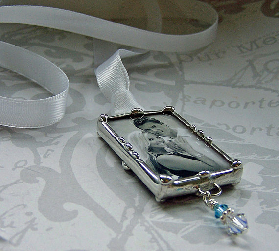 Mariage - Wedding Bouquet Charm Soldered Glass Photo Charm  Memorial Charm Personalized Custom Made Picture Pendant