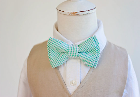 Mariage - Beau- boy's mint check seersucker double stacked bow tie- (clip or strap selection)
