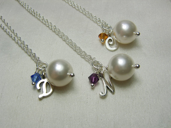 Mariage - Personalized Bridesmaid Necklace Set of 7 - Pearl Initial Necklaces - Wedding Jewelry Bridesmaid Jewelry Gift