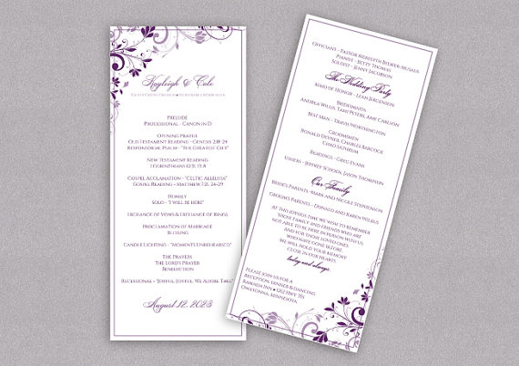 Diy Wedding Program Download Instantly Editable Text Chic