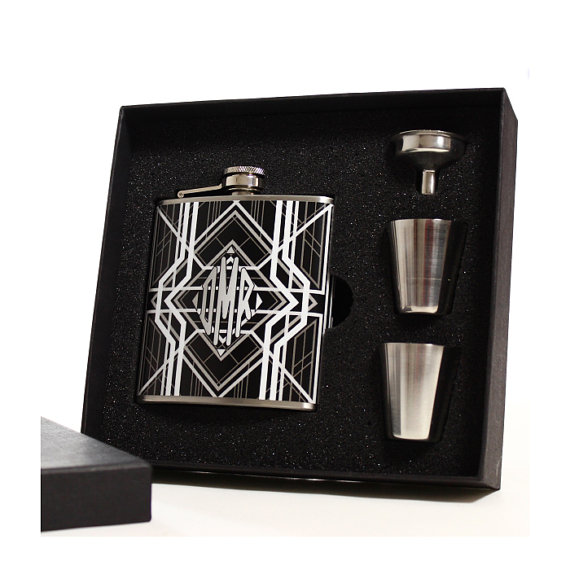 Mariage - 6 Groomsmen Flask Sets // Monogrammed Art Deco Flasks