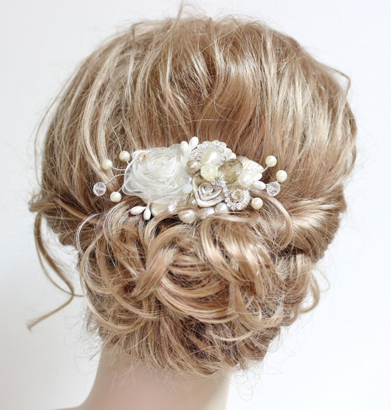 Champagne Ivory Bridal Hair Comb Wedding Piece Vintage Accessories Statement Hairpiece Clip Fl Haircomb