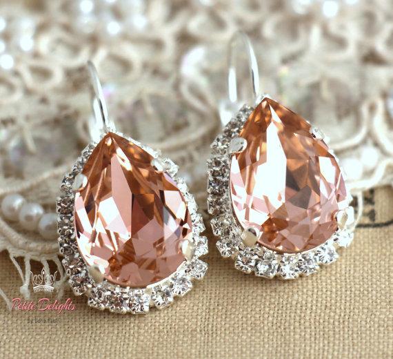Свадьба - Blush Pink peach Silver drop earrings,Bridal earrings rhinestone swarovski, halo earrings, crystal jewelry Silver or Gold plated  earrings