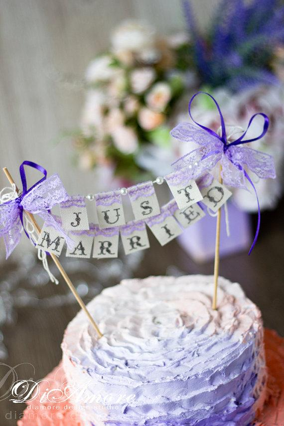 Small wedding cake topper banner just married with pearls and lace small wedding cake topper banner just married with pearls and lace lavenderpurple cake banner junglespirit Choice Image