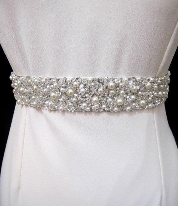 Mariage - Jeweled Belt Bridal Sash Pearl Rhinestone Wedding Hand Beaded Statement Sashes