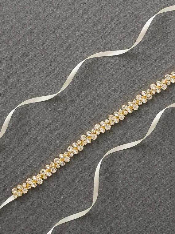 Свадьба - Gold Crystal Bridal Sash