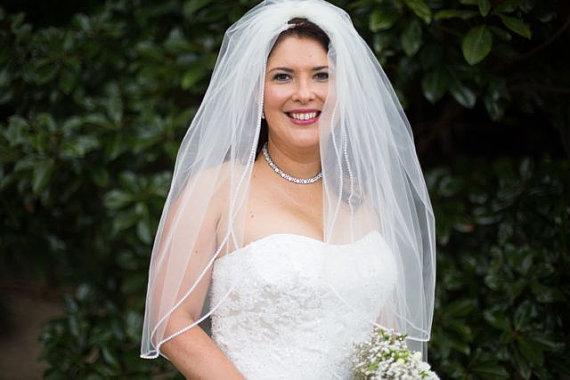 Mariage - Custom Handmade 1 Tier Elbow  Wedding Veil Bridal With a Rhinestone Edge