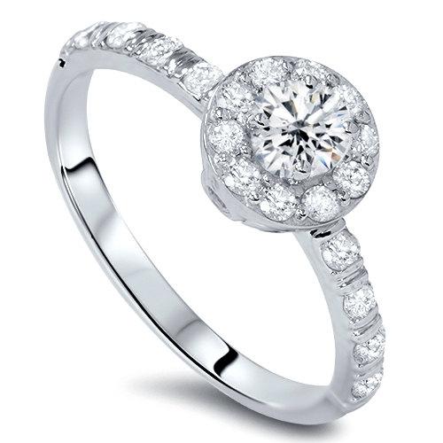 Hochzeit - 3/4CT Halo Diamond Engagement Ring Round Brilliant Cut 14 KT White Gold