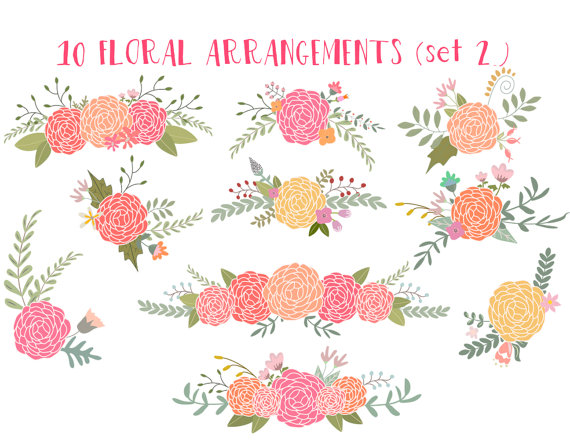 Mariage - Floral clip art, wedding clipart, ranunculus flowers