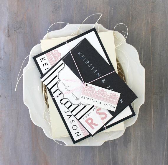 "زفاف - Pink and Gray Modern Wedding Invitations, Lace Wedding Invitations, Striped Wedding Invitations - ""Modern Lace"" Sample"
