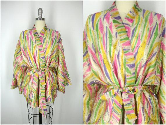 Hochzeit - Kimono / Silk Kimono / Silk Robe / Kimono Cardigan / Kimono Jacket / Wedding lingerie / Vintage Sari / Boho Kmono / Art Deco / Downton Abbey