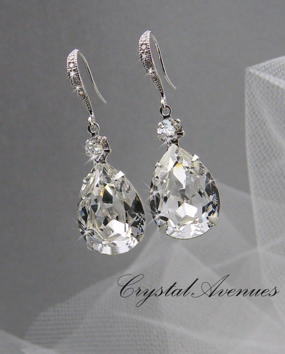 Mariage - Bridal Earrings, Crystal Bridal earrings, Wedding Bridal Jewelry, Bridesmaids, Crystal Drop Bridal Earrings