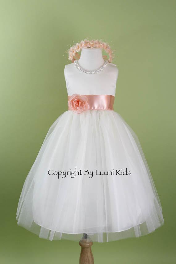 Flower Girl Dress White Tulle Dress With Peach Sash Communion