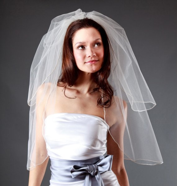 Mariage - Wedding Veil  - Handmade 2-Tier Pencil Edge Elbow Length - White, Diamond White, Light Ivory, Ivory, Champagne, Blush - made to order