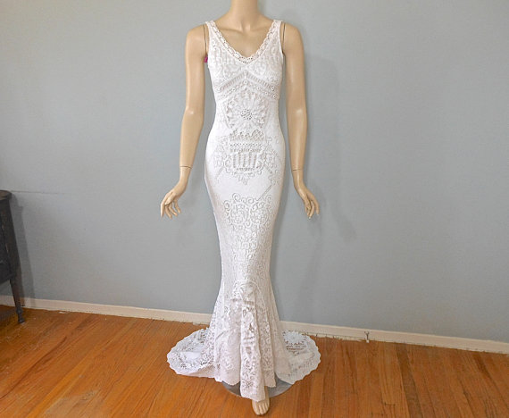 Mermaid Lace Wedding Gown, Bohemian WEDDING Dress Vintage Inspired ...