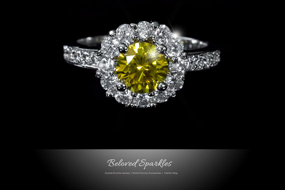Wedding - Canary Yellow Halo Ring 2.5 Carat Canary Cocktail CZ Engagement Ring Vintage Classic Canary Cubic Zirconia Statement Bridal Anniversary Ring