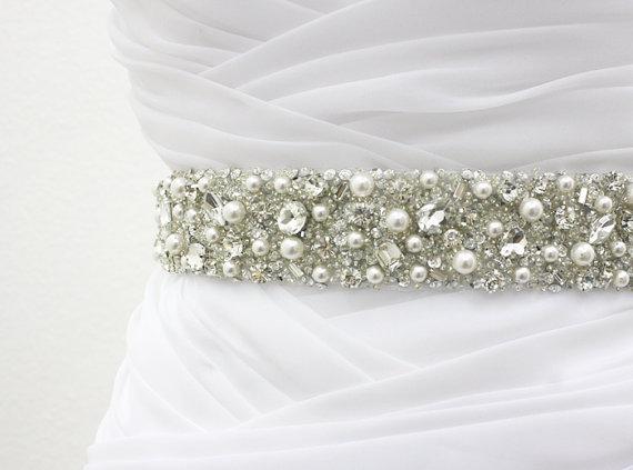 "Свадьба - Ready To Ship - MONACO II - 1 1/2"" Swarovski Pearls And Rhinestones Encrusted Bridal Sash, Wedding Beaded Belt, Crystal Belt"
