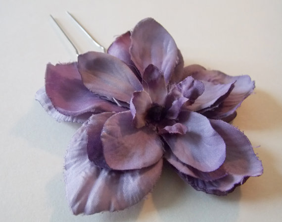 Mariage - Purple Hair Flower, Bridesmaids Purple Hair Accessory, Eggplant Flower Bobby Pin, Purple Wedding Flower, Hair Accessory Eggplant, Weddings