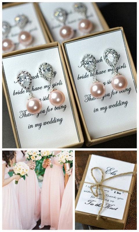 Свадьба - Pearl Bridal Earrings Soft Pink Blush Pearl Earrings Cubic Zirconia Sterling Silver Post Wedding Jewelry Bridesmaid Gift Pastel Rose Jewelr