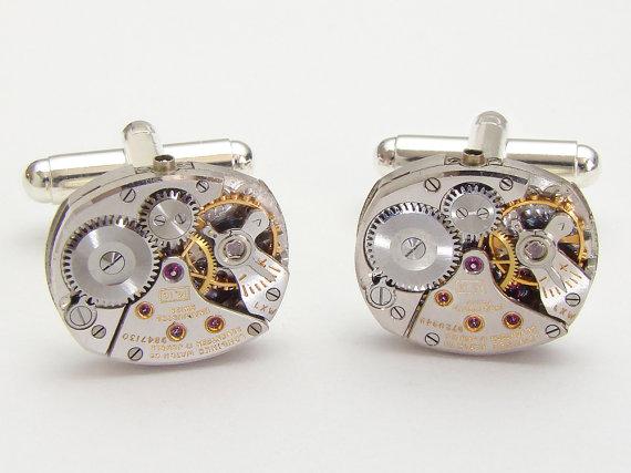 Wedding - Steampunk cufflinks vintage Rare Longines watch movements wedding anniversary Gift Grooms silver cuff links men jewelry by Steampunk Nation