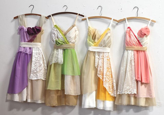 Wedding - Custom Mismatched Bridesmaids Dresses