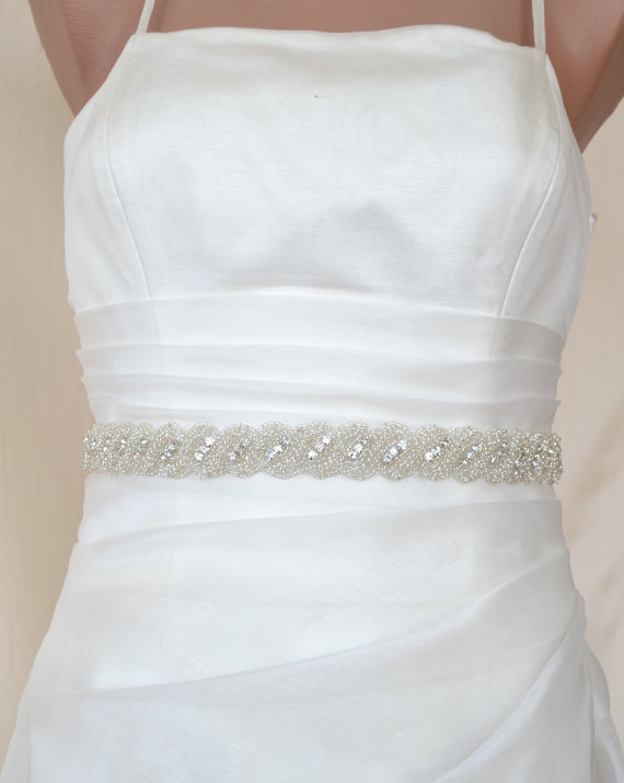 Свадьба - Elegant Rope Rhinestone Beaded Wedding Dress Sash Belt