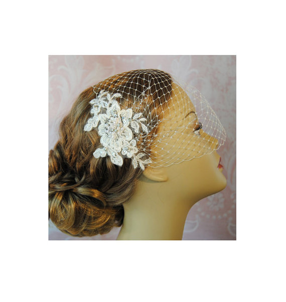Свадьба - Ivory Birdcage Veil and Lace Bridal Fascinator, Vintage Style Bandeau Birdcage Wedding Veil and Lace Hair Clip, Pearls & Crystals - LANA